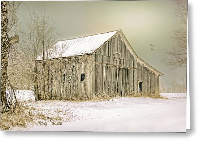 Greeting Card featuring the photograph Winter's Barn by Mary Timman