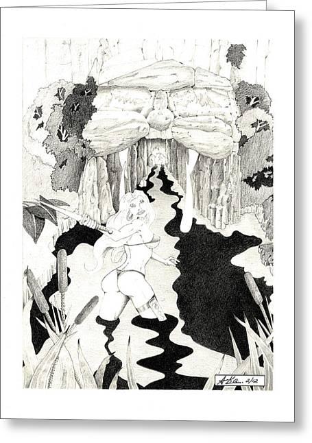 Wolf Cave Greeting Card by Allen Klein
