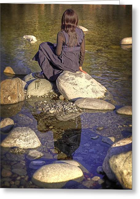 Woman At The River Greeting Card