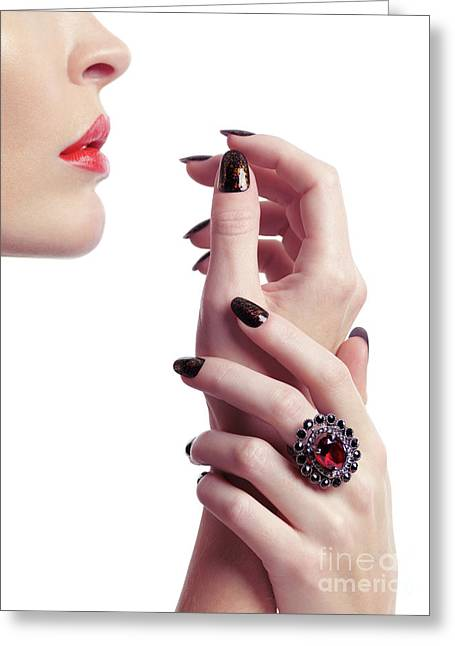 Woman Hands And Lips Greeting Card