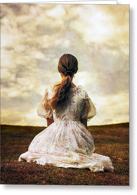 Woman On A Meadow Greeting Card