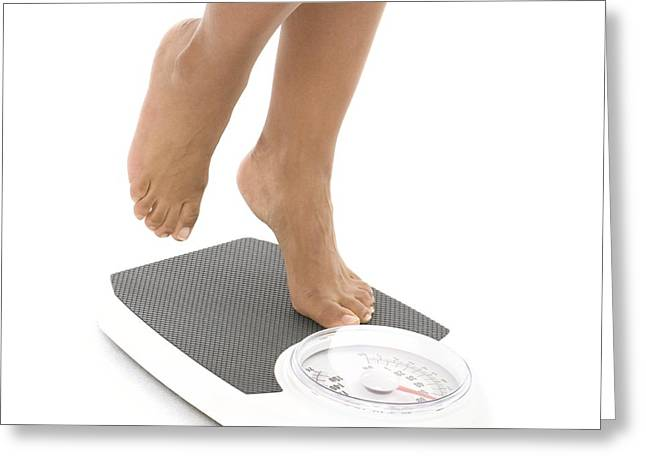 Woman Weighing Herself Greeting Card by