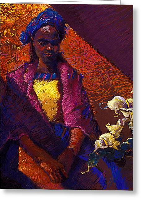 Woman With Calla Lilies Greeting Card by Ellen Dreibelbis