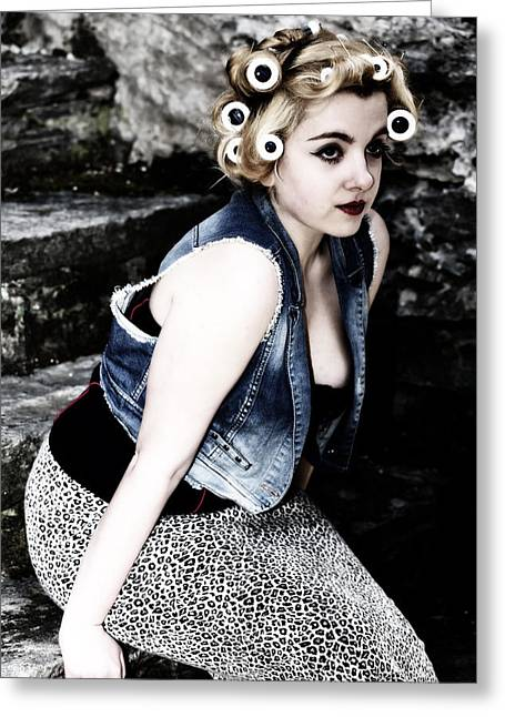 Woman With Curlers Greeting Card by Joana Kruse