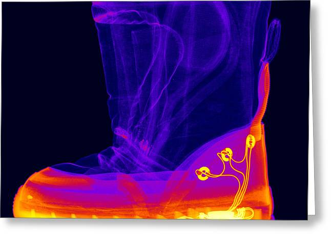 X-ray Of A Childs Light-up Boot Greeting Card by Ted Kinsman