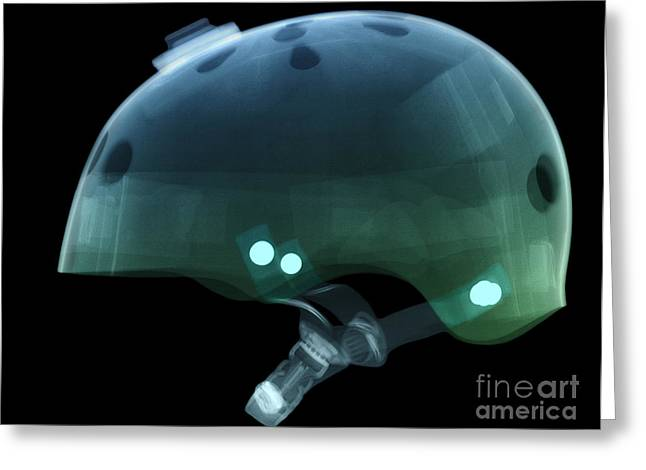 X-ray Of Skateboard Helmet Greeting Card by Ted Kinsman