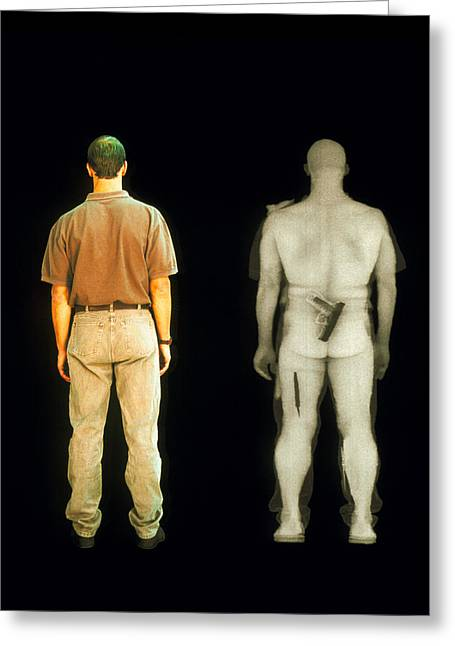 X-ray View Of Man During Bodysearch Surveillance Greeting Card