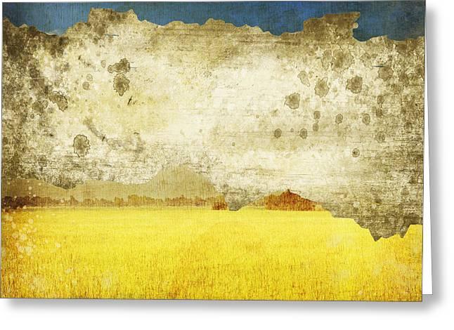 Yellow Field On Old Grunge Paper Greeting Card by Setsiri Silapasuwanchai