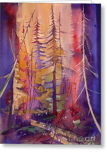 Yellowstone Fire Greeting Card by Pati Pelz