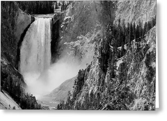 Yellowstone Waterfalls In Black And White Greeting Card by Sebastian Musial