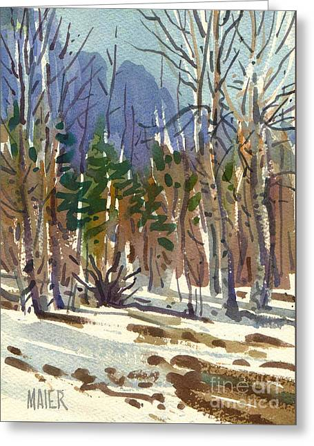 Yosemite Valley In Winter Greeting Card by Donald Maier