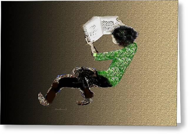 Greeting Card featuring the digital art Young Reader by Asok Mukhopadhyay