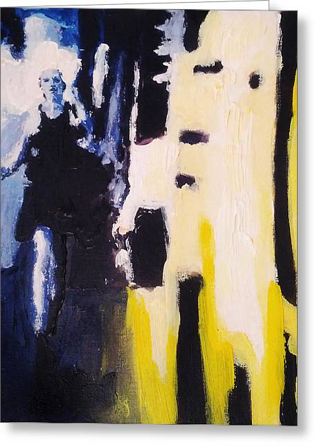 Young Running Female Cityscape In Blue And Yellow Greeting Card