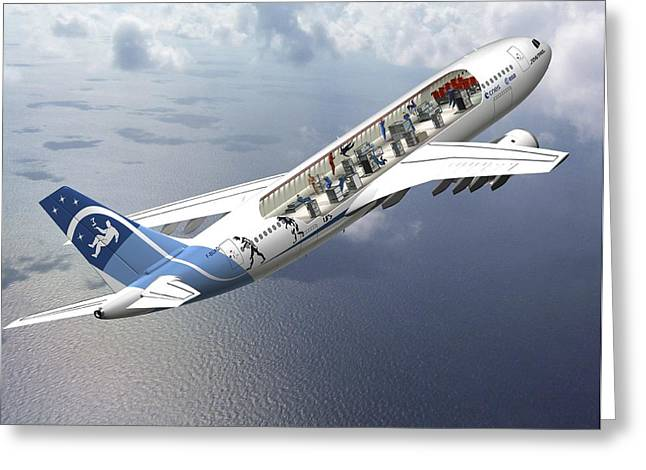 Zero-g Airbus Aircraft, Artwork Greeting Card by David Ducros