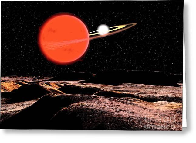 Zeta Piscium Is A Binary Star System Greeting Card by Ron Miller