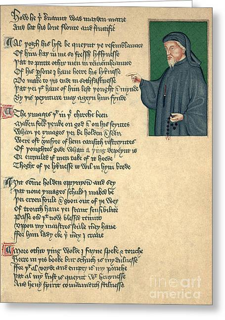 Geoffrey Chaucer Greeting Card by Photo Researchers