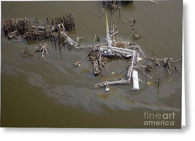 Hurricane Katrina Damage Greeting Card by Science Source