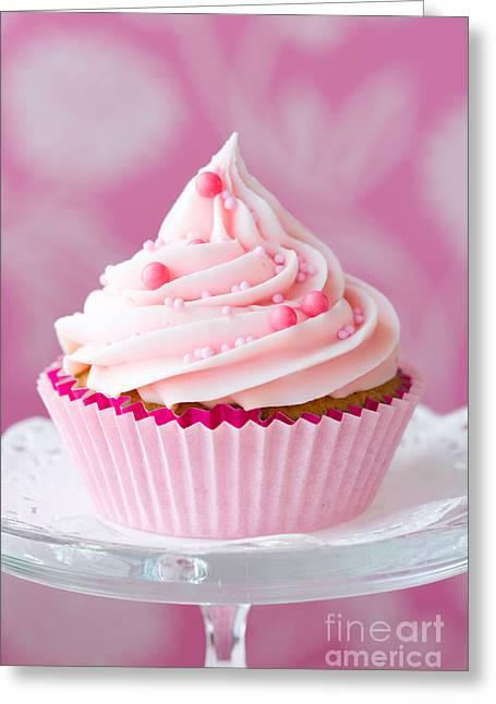 Pink Cupcake Greeting Card by Ruth Black