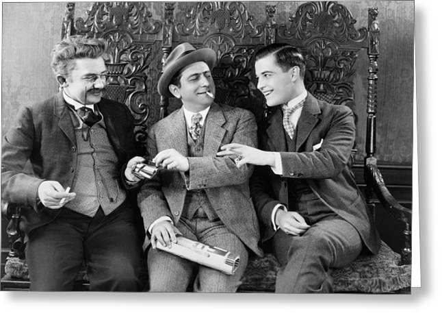Silent Film Still: Smoking Greeting Card by Granger
