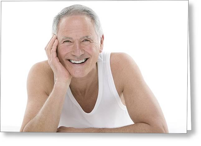 Happy Senior Man Greeting Card