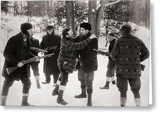 Silent Film Still: Guns Greeting Card by Granger