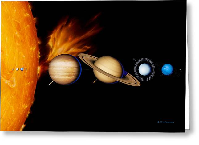 Sun And Its Planets Greeting Card by Detlev Van Ravenswaay