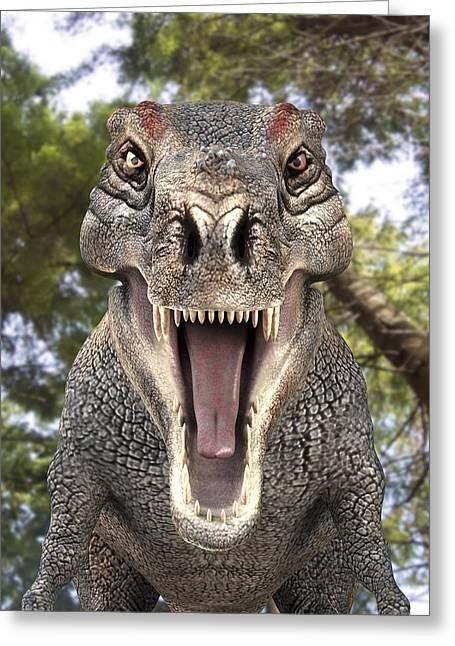 Tyrannosaurus Rex Dinosaur Greeting Card by Roger Harris