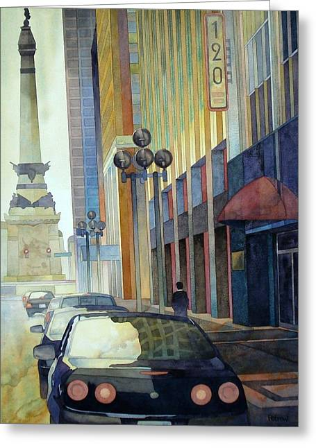 120 E Market Greeting Card by Ryan Petrow