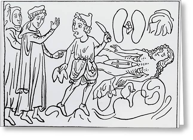 14th Century Depiction Of Dissection Greeting Card by