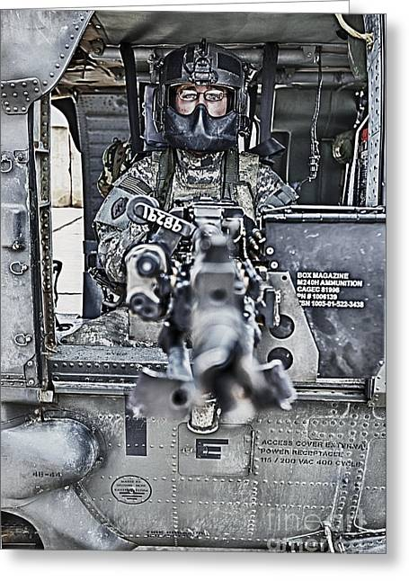 Hdr Image Of A Uh-60 Black Hawk Door Greeting Card