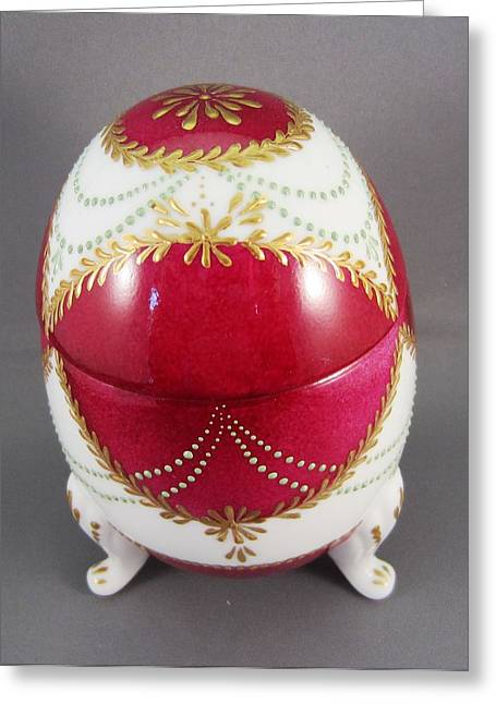 1543 Footed Egg Box Dark Pink Greeting Card by Wilma Manhardt