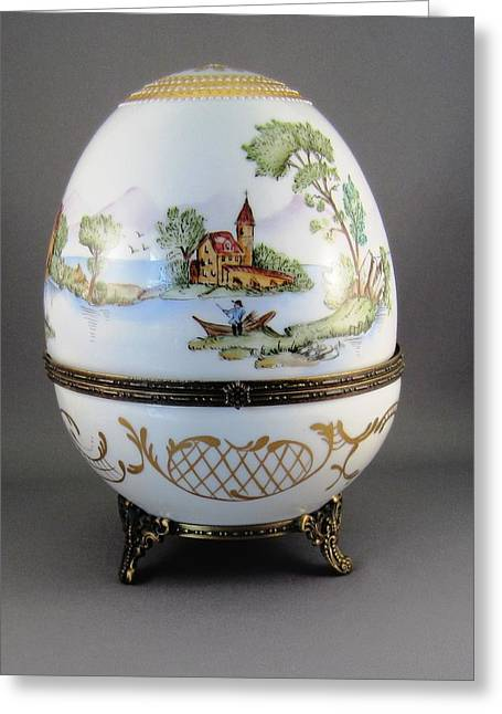 1546 Hinged Egg-box With 3 Scenes Greeting Card by Wilma Manhardt
