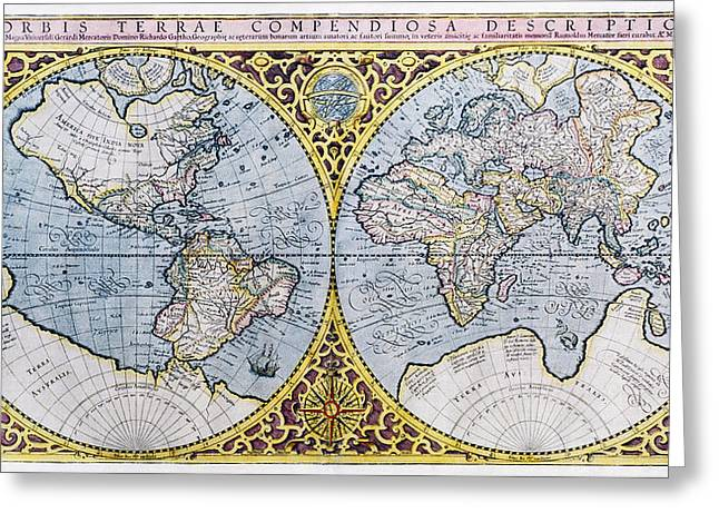 16th Century World Map Greeting Card by Georgette Douwma