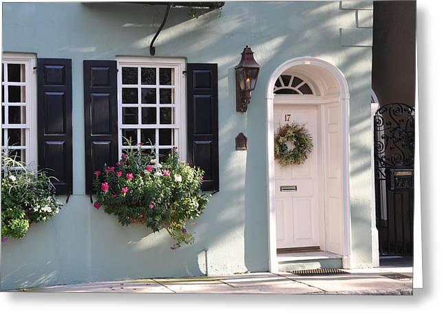 17 Tradd Street Window Box Greeting Card by Lori Kesten