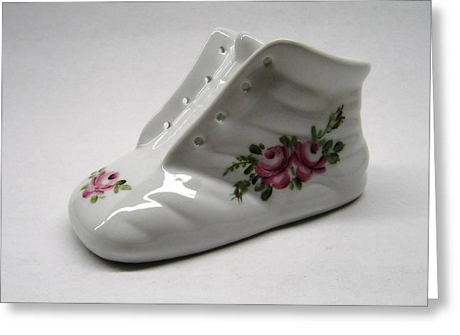 1705 Baby Shoe Pink Roses Greeting Card by Wilma Manhardt