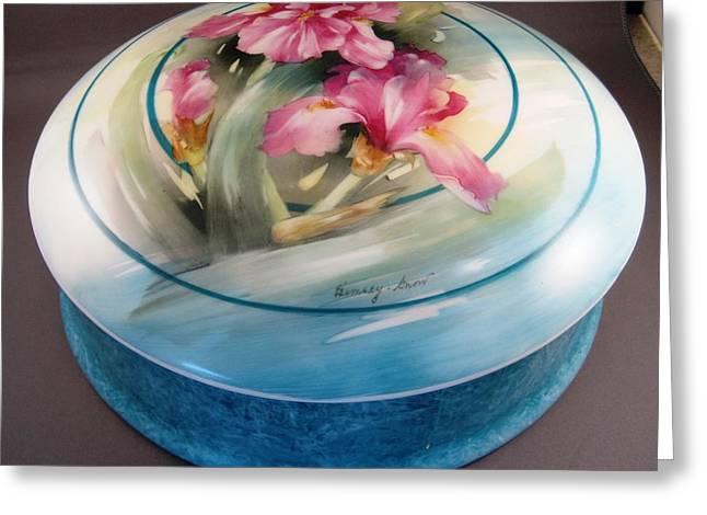172 Chocolate Box Pink Irises Greeting Card by Wilma Manhardt