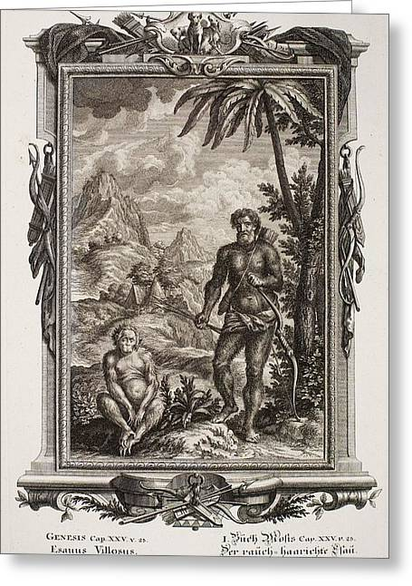 1731 Johann Scheuchzer Hairy Esau Bible Greeting Card