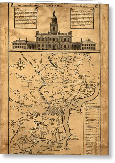 1752 Philadelphia Map Greeting Card