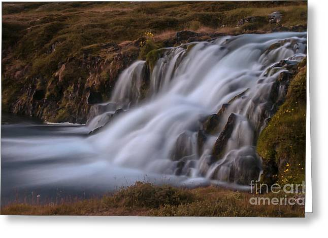 Waterfall Greeting Card by Jorgen Norgaard