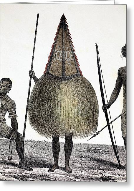 1827 New Ireland Native Sprit Costume Png Greeting Card by Paul D Stewart