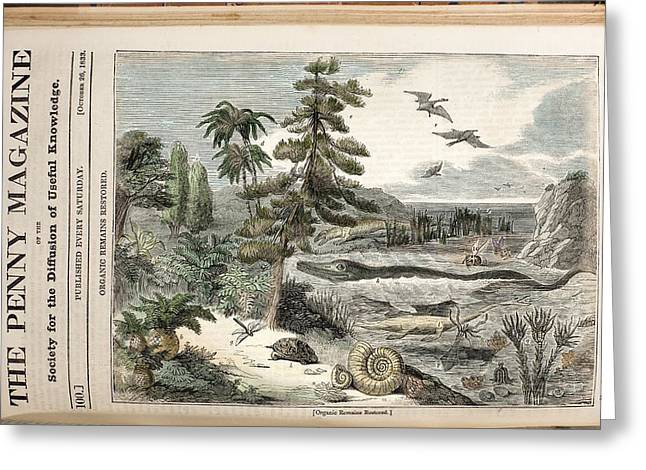 1833 Penny Magazine Extinct Animals Color Greeting Card by Paul D Stewart