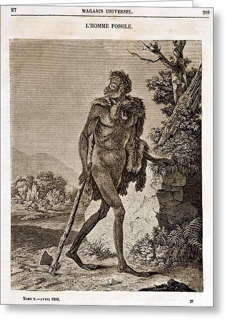 1838 Cave Man Engraving 'l'homme Fossile' Greeting Card by Paul D Stewart