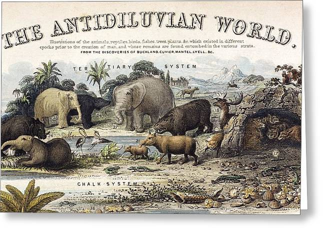 1849 The Antidiluvian World Crop Jurassic Greeting Card by Paul D Stewart