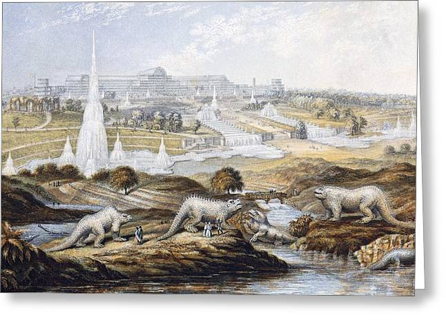 1854 Crystal Palace Dinosaurs By Baxter 1 Greeting Card by Paul D Stewart