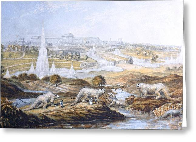 1854 Crystal Palace Dinosaurs By Baxter 2 Greeting Card by Paul D Stewart