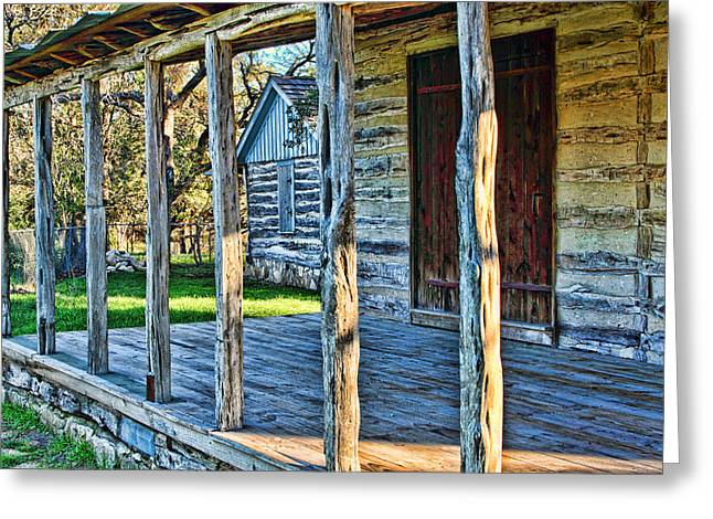 1860 Log Cabin Porch Greeting Card by Linda Phelps