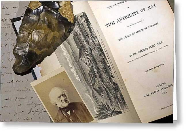 1863 Lyell's Antiquity Of Man Desktop. Greeting Card by Paul D Stewart