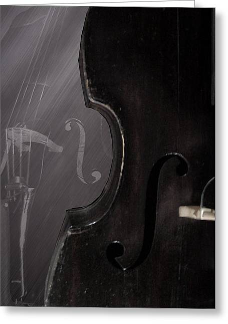 1880 Bass - F Hole Greeting Card by Lisa A Bello