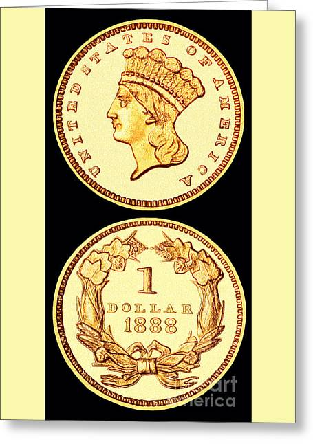 1888 U.s. Gold Type 3 Dollar Greeting Card