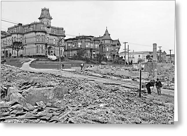 1906 Earthquake Damage At Franklin And Sacramento In San Francisco Greeting Card by Padre Art